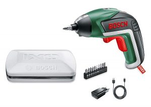 Bosch Atornillador IXO Básico, estuche blanco, varias puntas, cargador usb, el mejor atornillador portatil