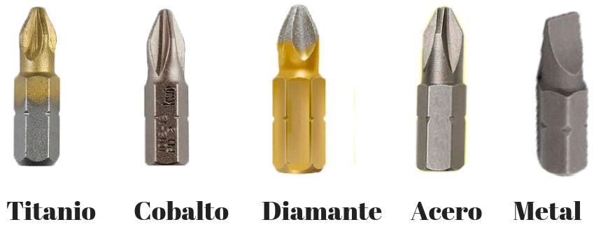 puntas de destronillador inalambrico, electrico, cobalto, titanio, acero, metal, diamante
