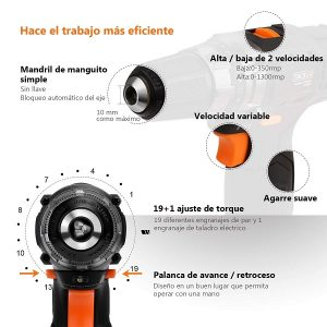 Taladro Atornillador 12V, TACKLIFE PCD03B