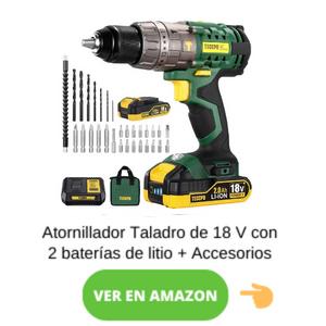 Taladro Atornillador 18V, 2.0Ah Brushless TECCPO 2 Baterías y Accesorios
